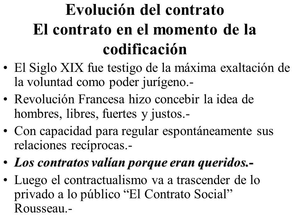 Evolución del contrato El contrato en el momento de la codificación