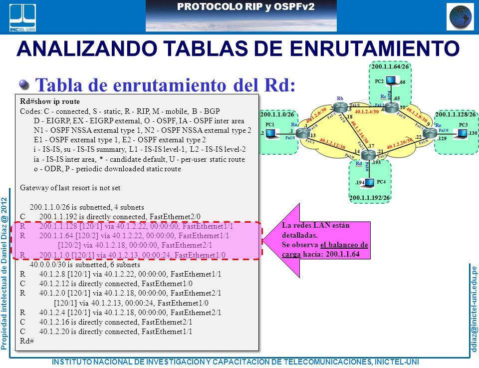 ANALIZANDO TABLAS DE ENRUTAMIENTO