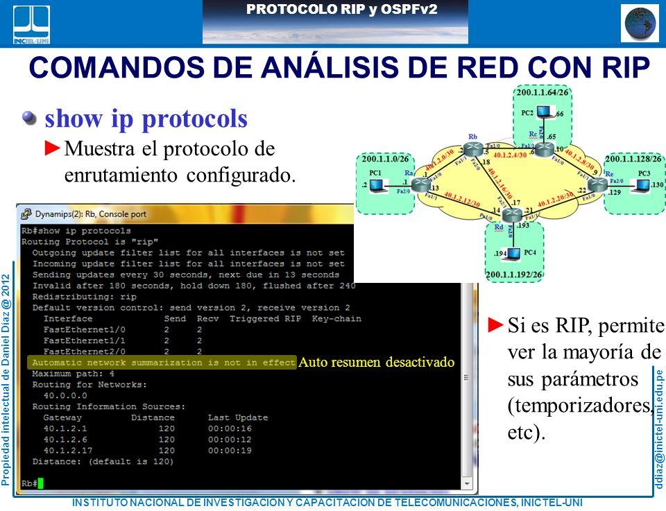 COMANDOS DE ANÁLISIS DE RED CON RIP