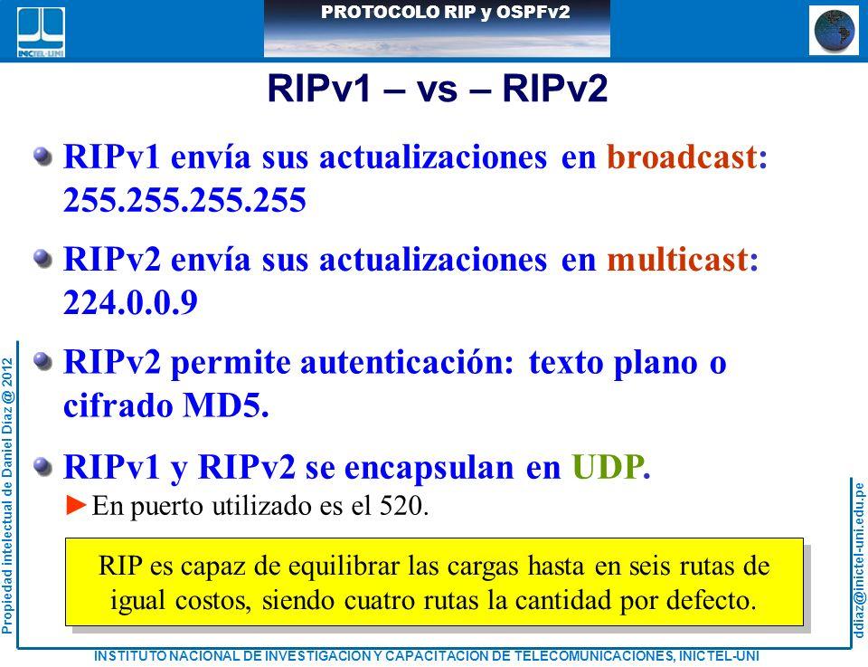 RIPv1 – vs – RIPv2 RIPv1 envía sus actualizaciones en broadcast: