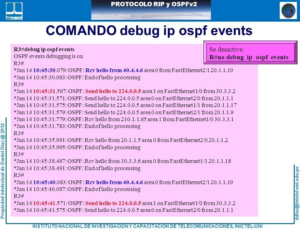 COMANDO debug ip ospf events