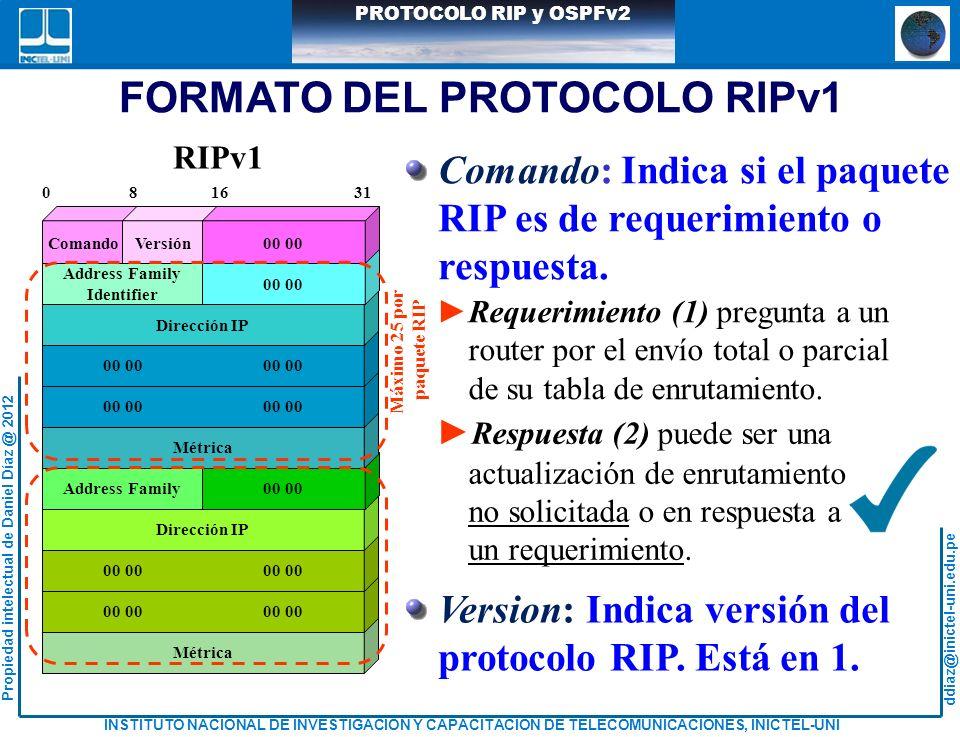 FORMATO DEL PROTOCOLO RIPv1