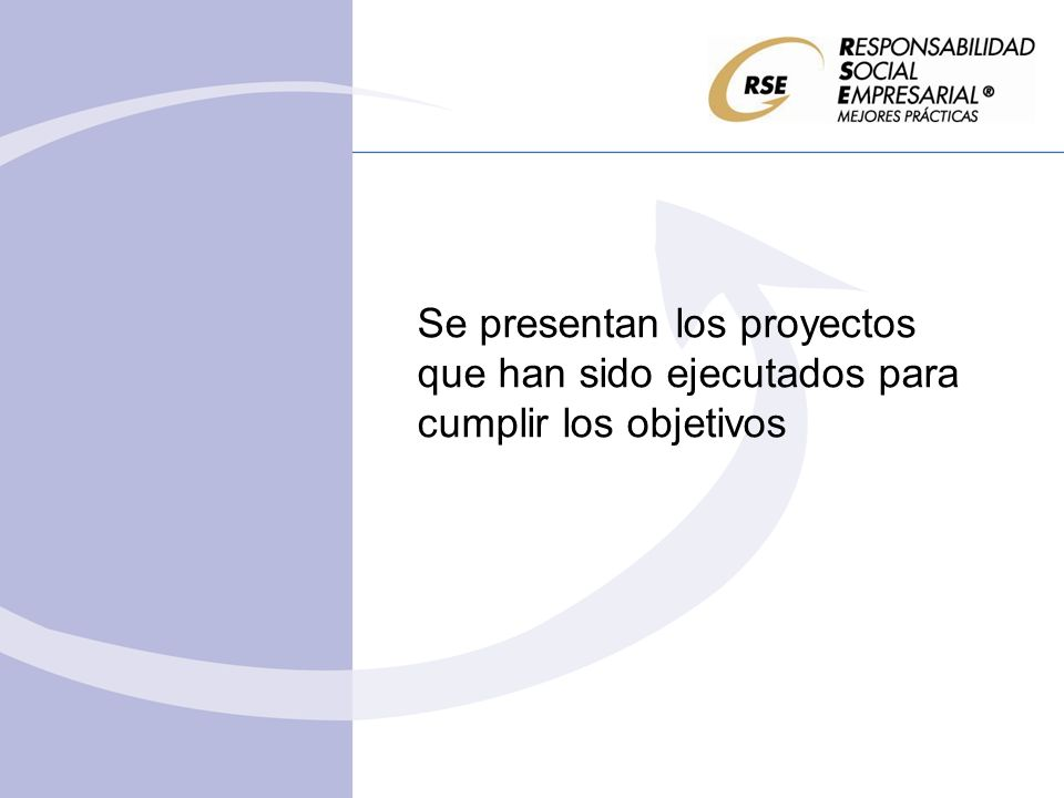 Se presentan los proyectos que han sido ejecutados para cumplir los objetivos