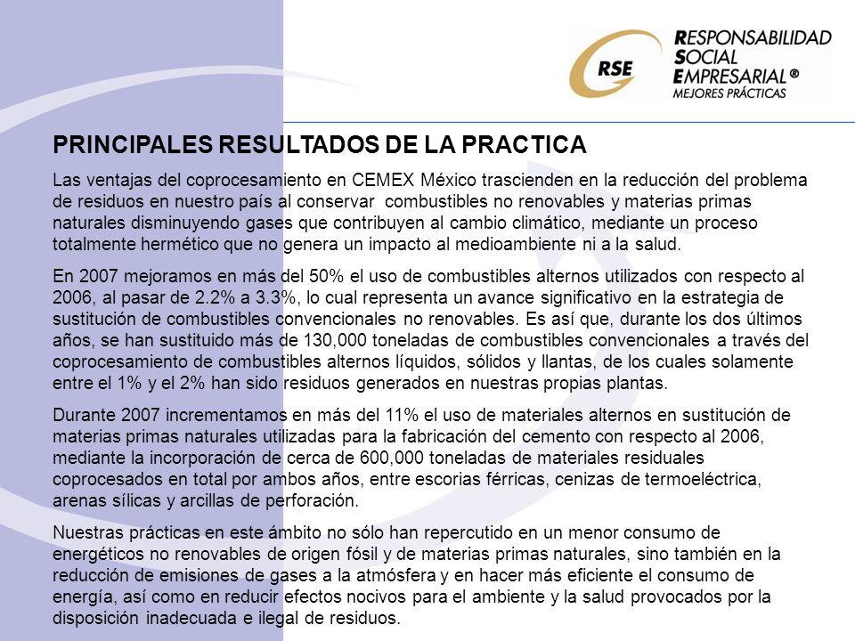 PRINCIPALES RESULTADOS DE LA PRACTICA