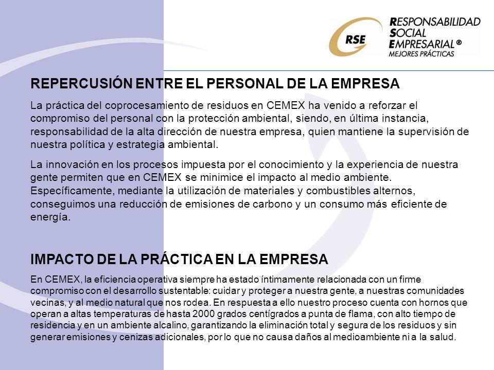 REPERCUSIÓN ENTRE EL PERSONAL DE LA EMPRESA