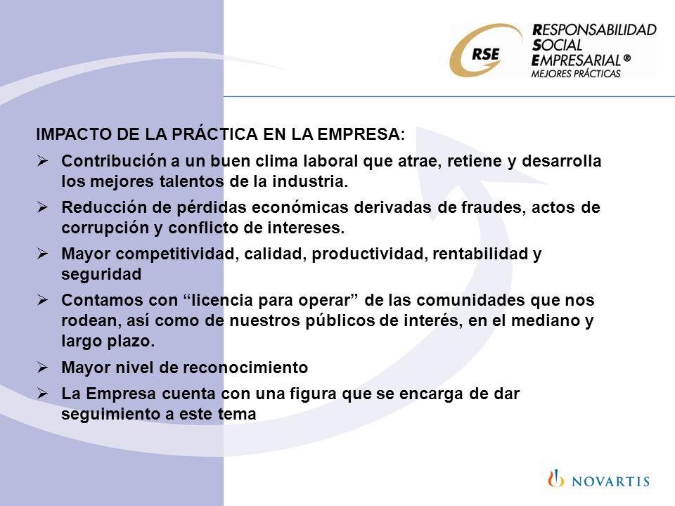 IMPACTO DE LA PRÁCTICA EN LA EMPRESA: