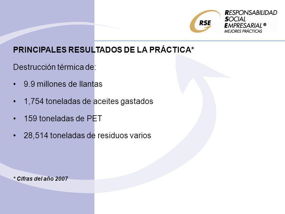 PRINCIPALES RESULTADOS DE LA PRÁCTICA* Destrucción térmica de:
