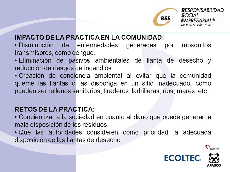 IMPACTO DE LA PRÁCTICA EN LA COMUNIDAD: