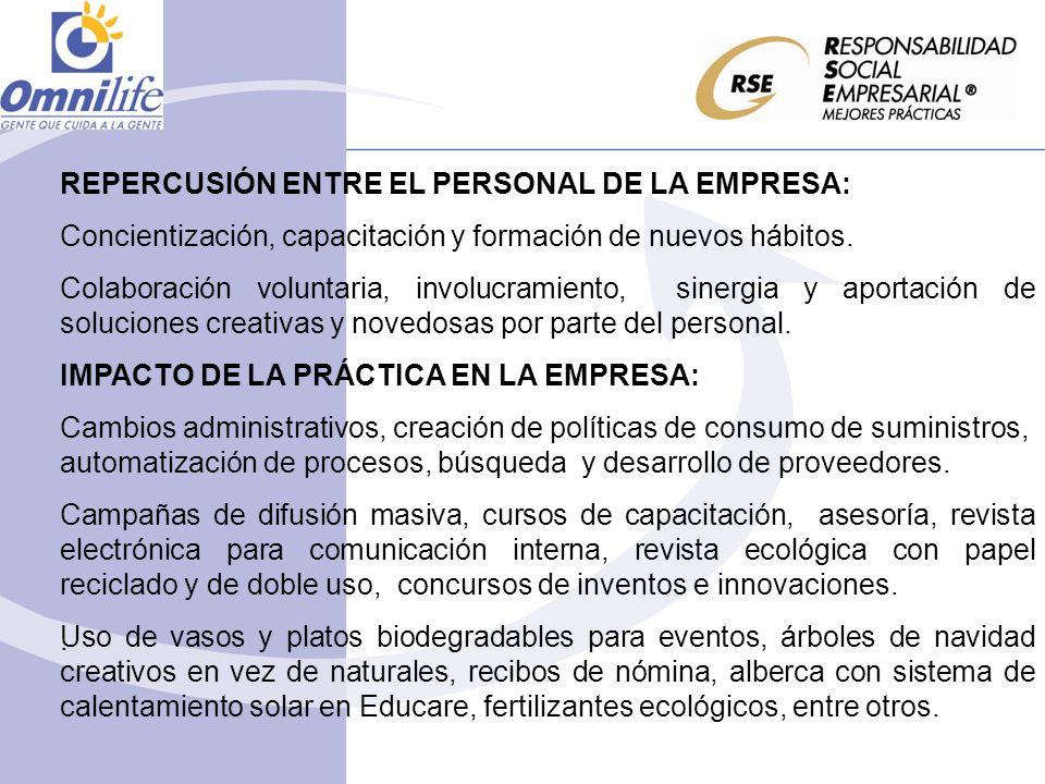 REPERCUSIÓN ENTRE EL PERSONAL DE LA EMPRESA: