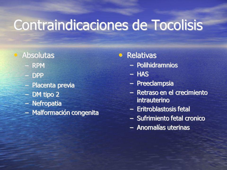 Contraindicaciones de Tocolisis