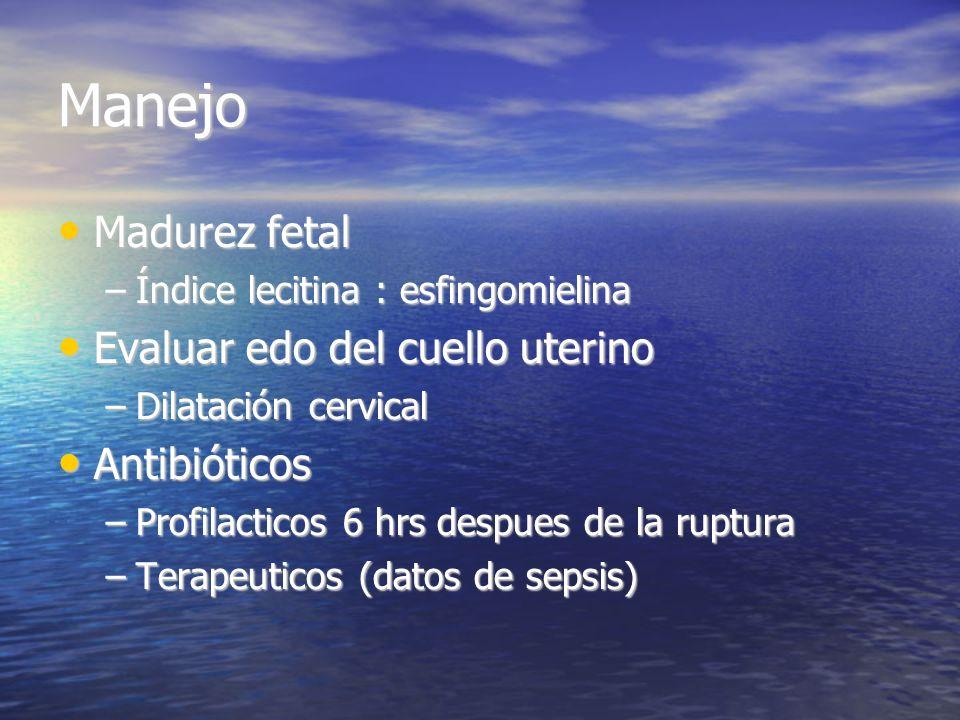 Manejo Madurez fetal Evaluar edo del cuello uterino Antibióticos
