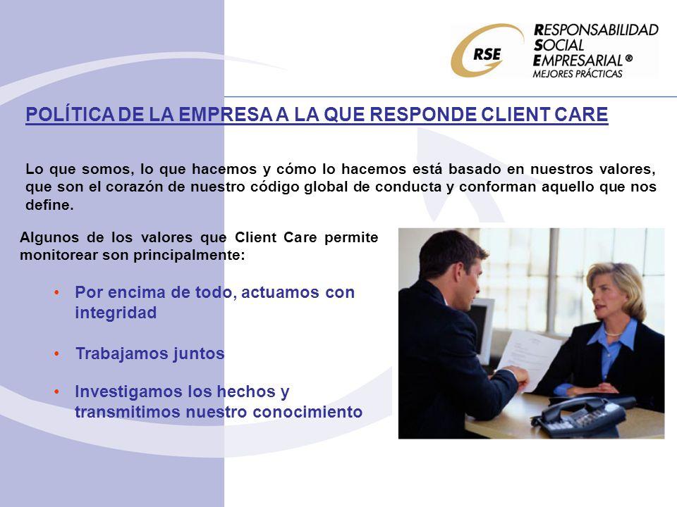 POLÍTICA DE LA EMPRESA A LA QUE RESPONDE CLIENT CARE