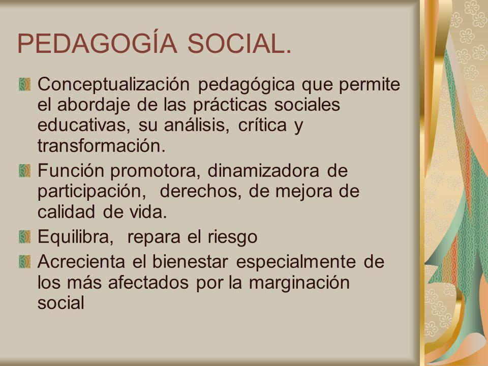 PEDAGOGÍA SOCIAL. Conceptualización pedagógica que permite el abordaje de las prácticas sociales educativas, su análisis, crítica y transformación.