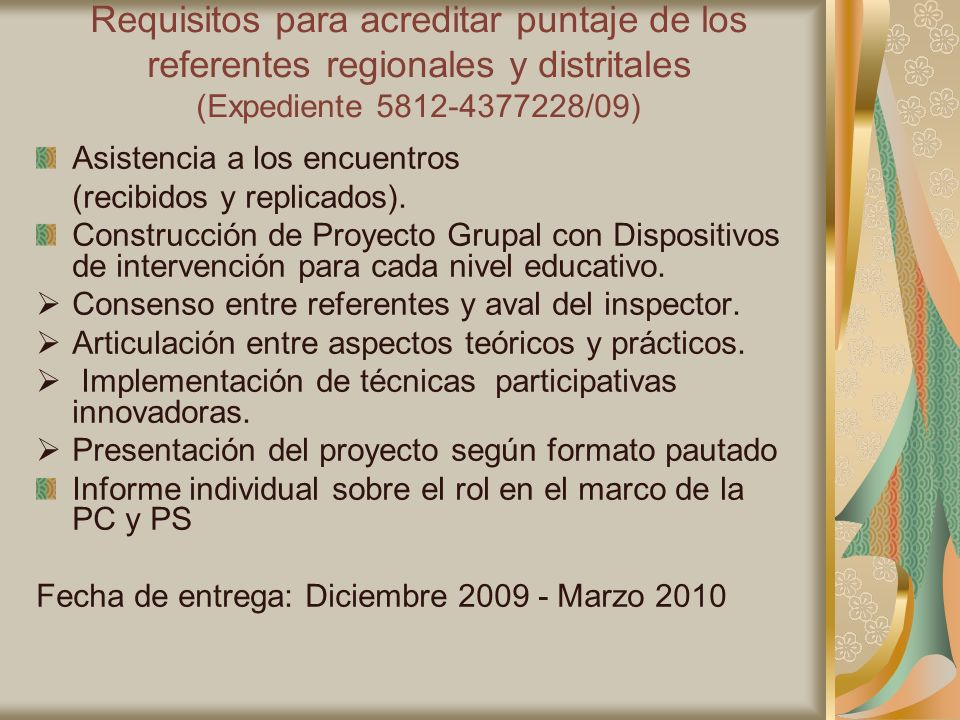 Requisitos para acreditar puntaje de los referentes regionales y distritales (Expediente 5812-4377228/09)