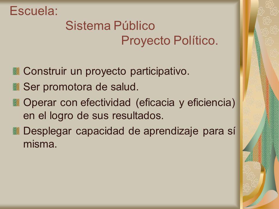 Escuela: Sistema Público Proyecto Político.