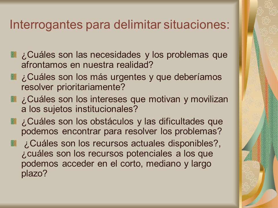 Interrogantes para delimitar situaciones: