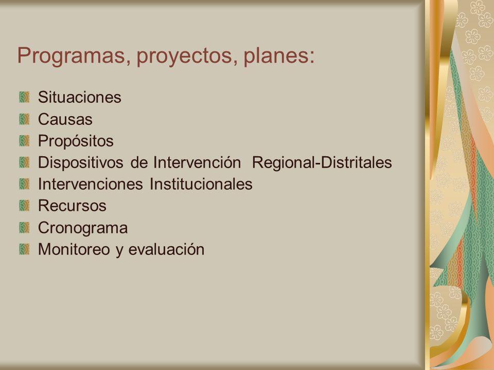 Programas, proyectos, planes: