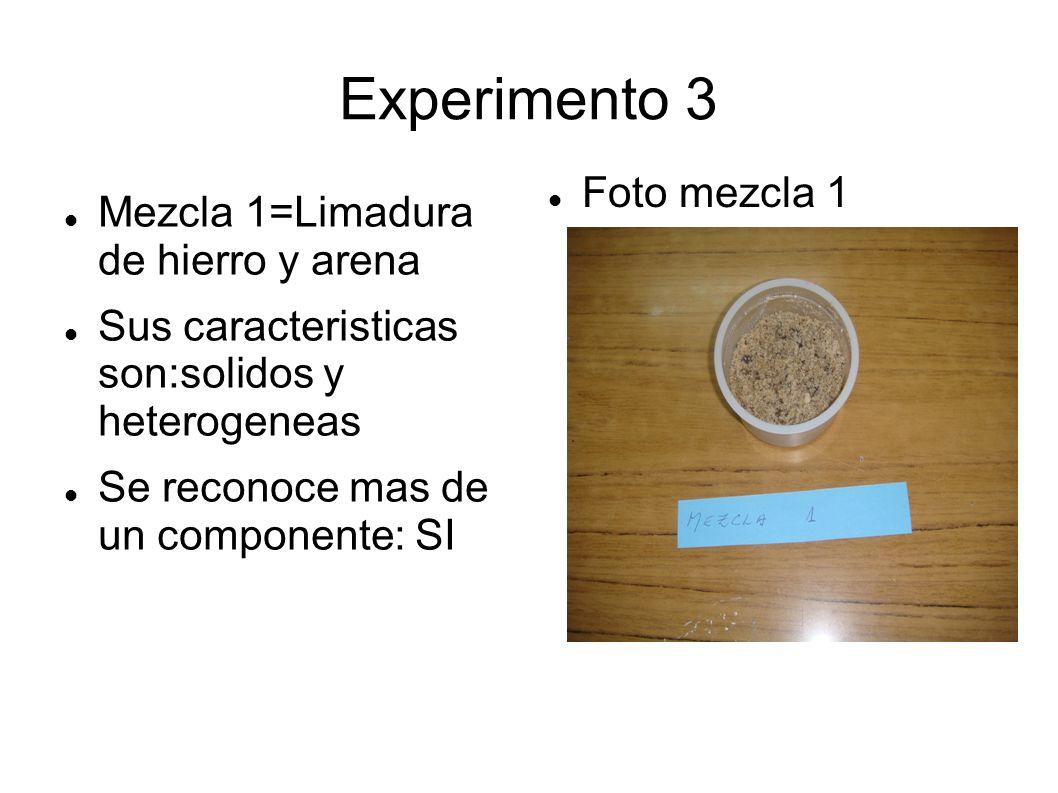 Experimento 3 Foto mezcla 1 Mezcla 1=Limadura de hierro y arena