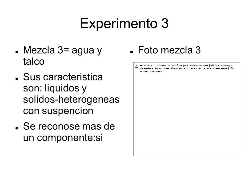 Experimento 3 Mezcla 3= agua y talco