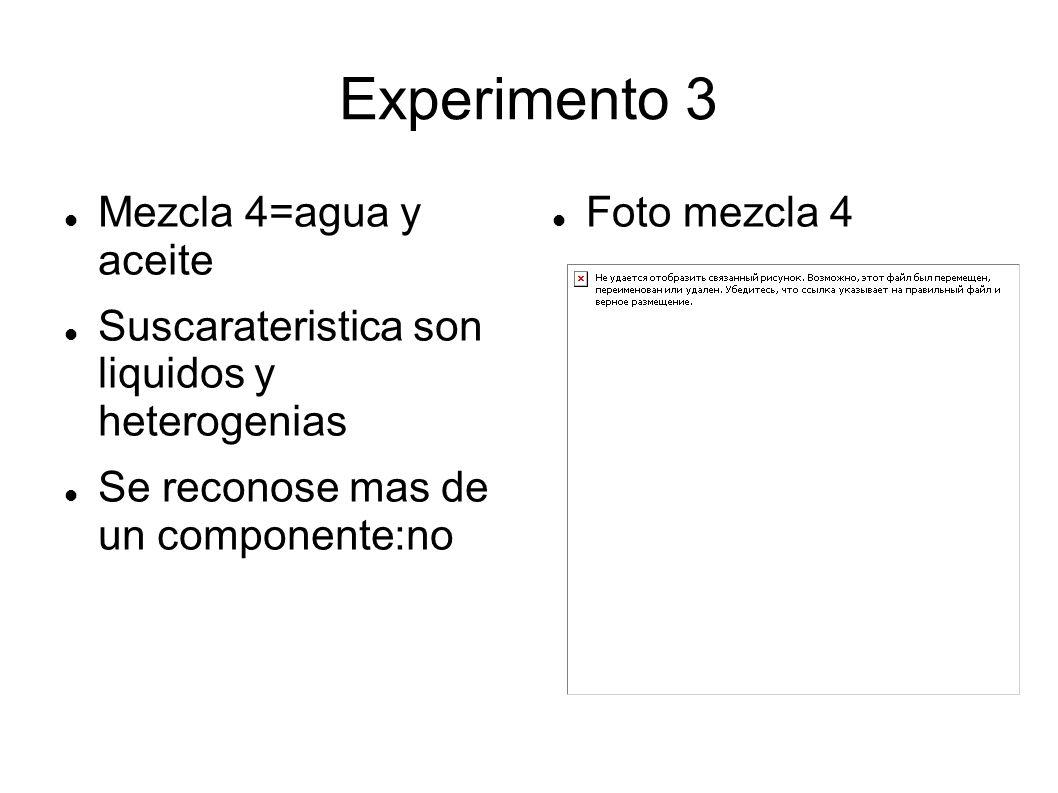 Experimento 3 Mezcla 4=agua y aceite