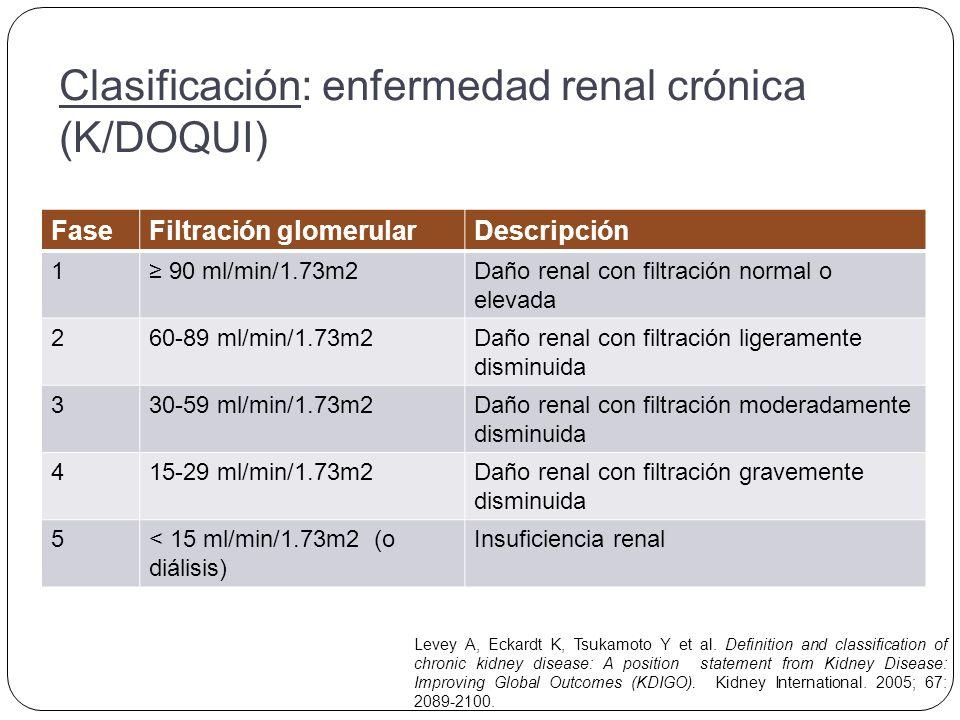 Clasificación: enfermedad renal crónica (K/DOQUI)