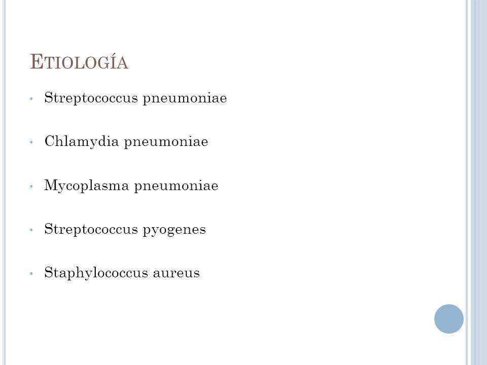 Etiología Streptococcus pneumoniae Chlamydia pneumoniae