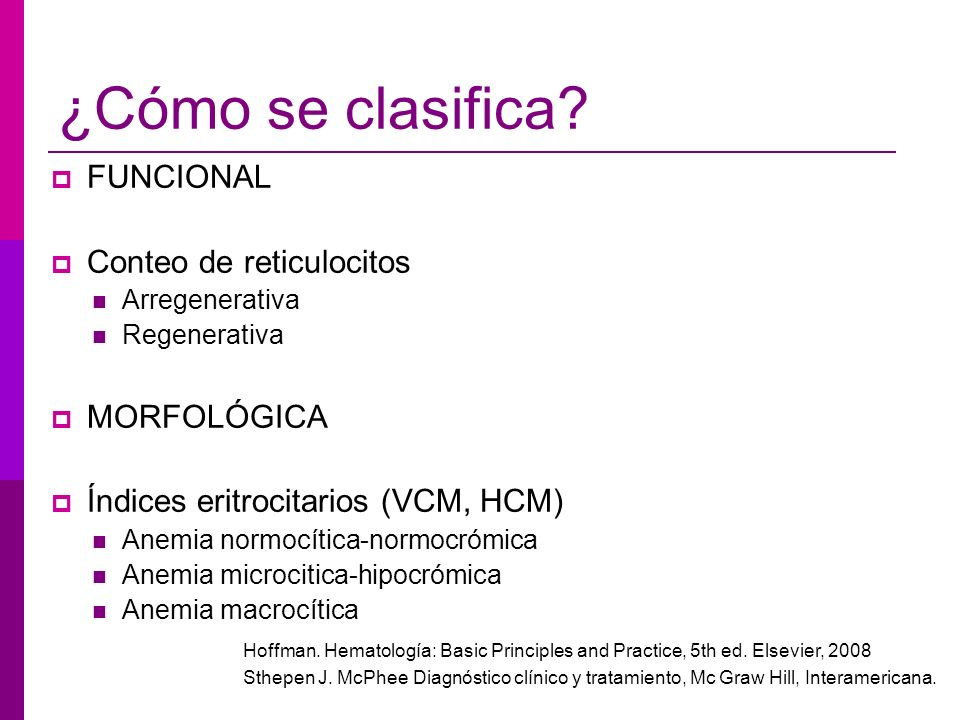 ¿Cómo se clasifica FUNCIONAL Conteo de reticulocitos MORFOLÓGICA