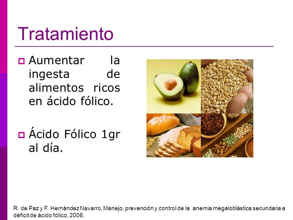 Tratamiento Aumentar la ingesta de alimentos ricos en ácido fólico.
