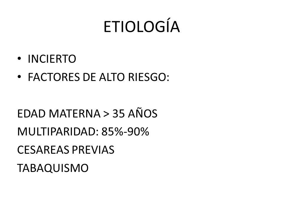 ETIOLOGÍA INCIERTO FACTORES DE ALTO RIESGO: EDAD MATERNA > 35 AÑOS