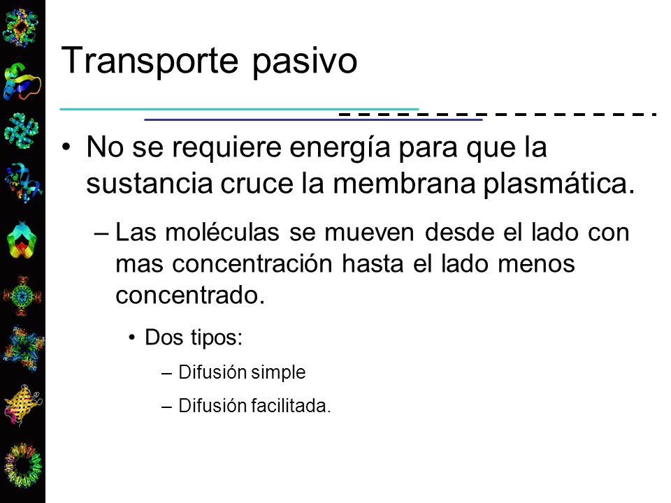 Transporte pasivo No se requiere energía para que la sustancia cruce la membrana plasmática.