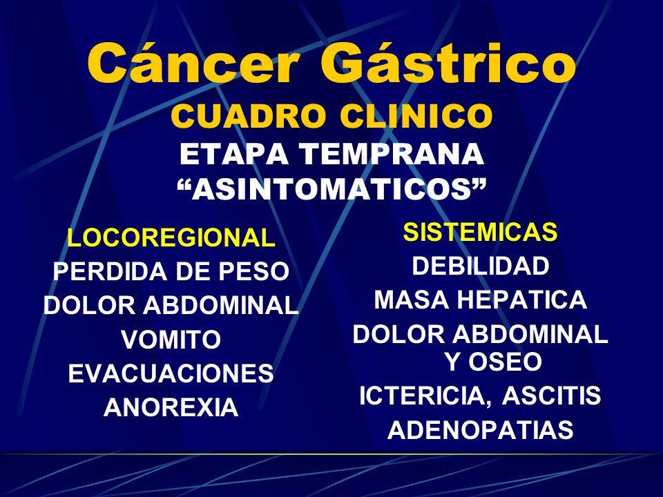 Cáncer Gástrico CUADRO CLINICO ETAPA TEMPRANA ASINTOMATICOS