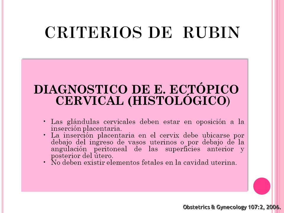 DIAGNOSTICO DE E. ECTÓPICO CERVICAL (HISTOLÓGICO)