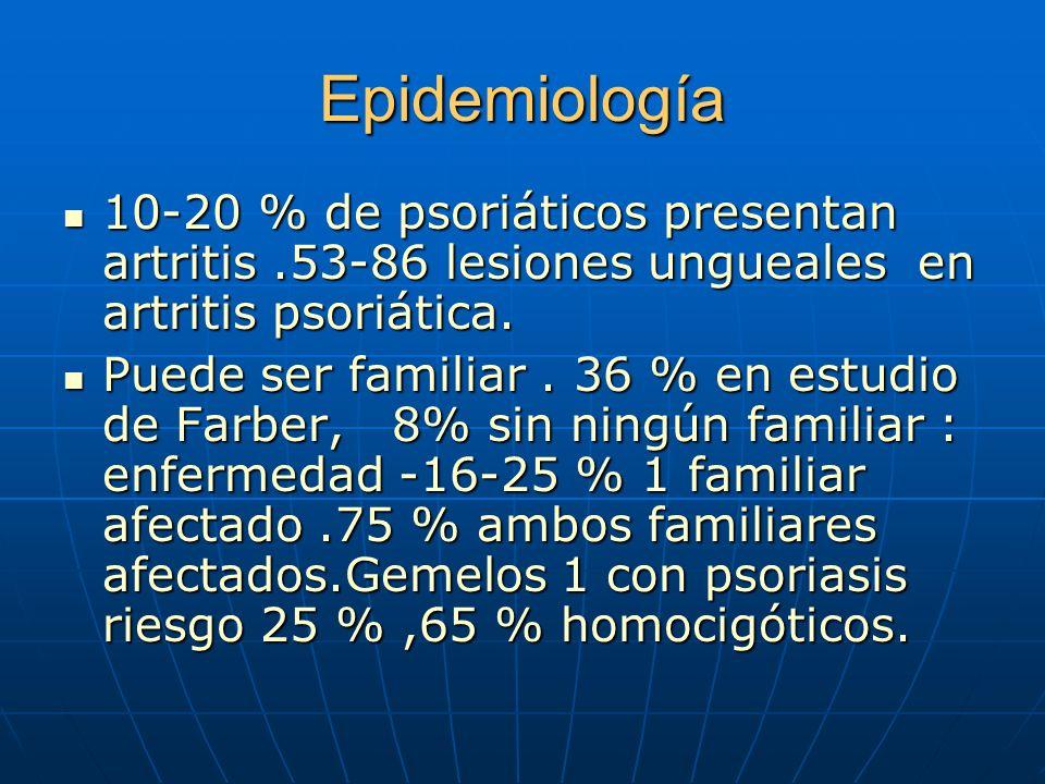 Epidemiología 10-20 % de psoriáticos presentan artritis .53-86 lesiones ungueales en artritis psoriática.