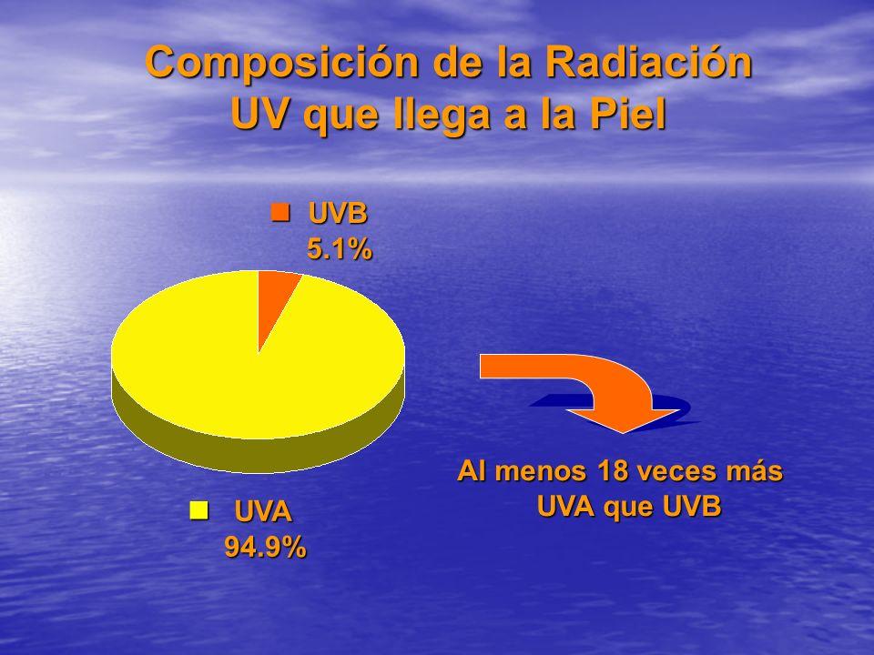 Composición de la Radiación UV que llega a la Piel