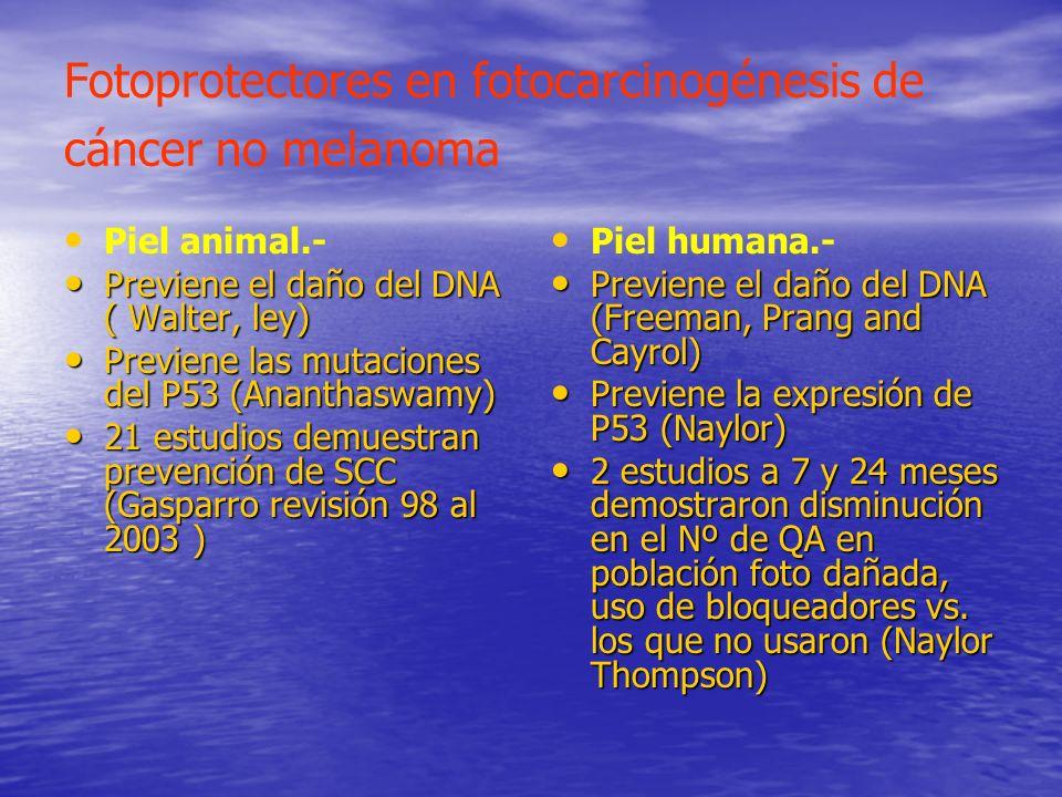 Fotoprotectores en fotocarcinogénesis de cáncer no melanoma