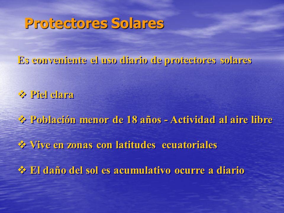 Protectores Solares Es conveniente el uso diario de protectores solares.  Piel clara.  Población menor de 18 años - Actividad al aire libre.