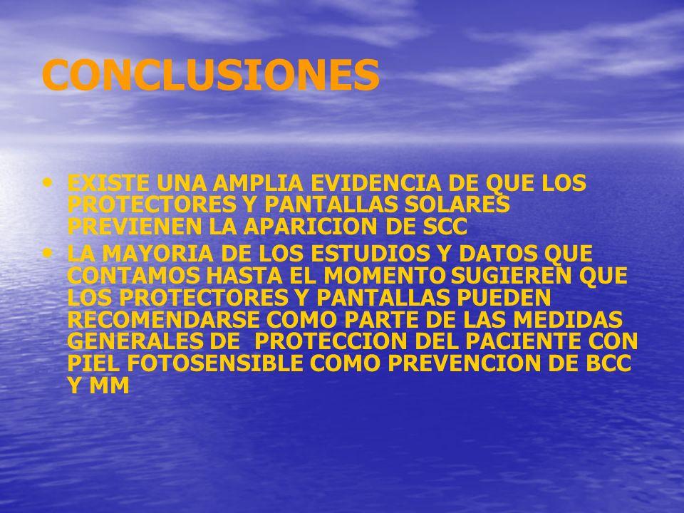 CONCLUSIONES EXISTE UNA AMPLIA EVIDENCIA DE QUE LOS PROTECTORES Y PANTALLAS SOLARES PREVIENEN LA APARICION DE SCC.