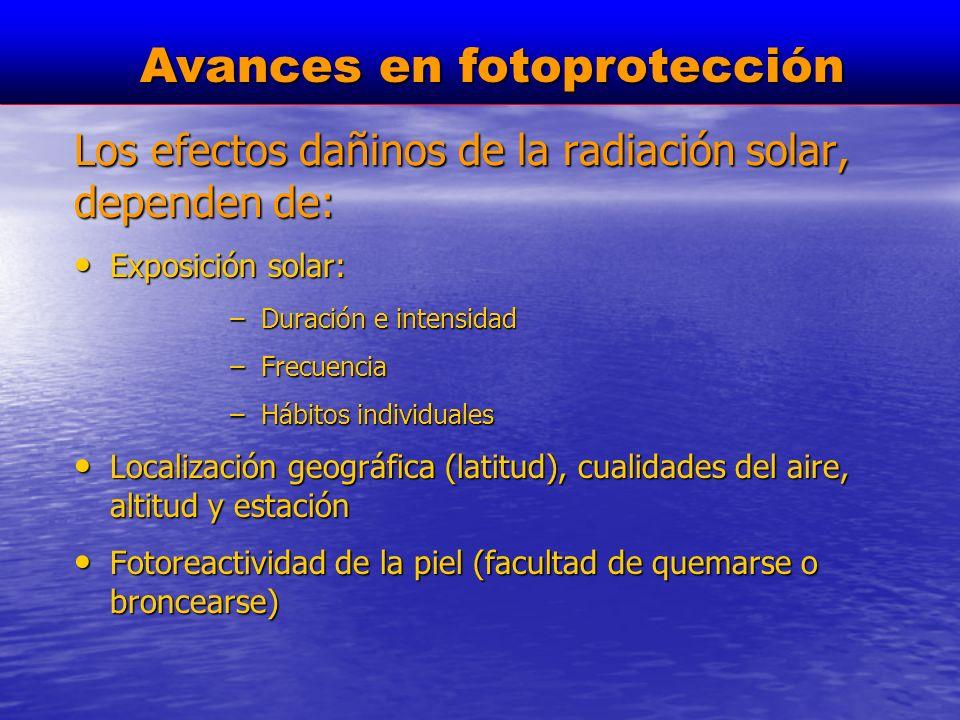 Los efectos dañinos de la radiación solar, dependen de: