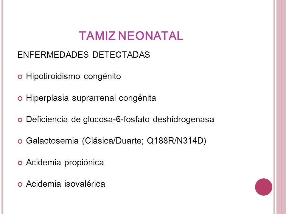 TAMIZ NEONATAL ENFERMEDADES DETECTADAS Hipotiroidismo congénito