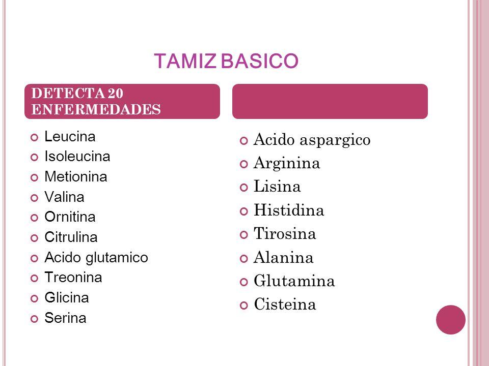 TAMIZ BASICO Acido aspargico Arginina Lisina Histidina Tirosina