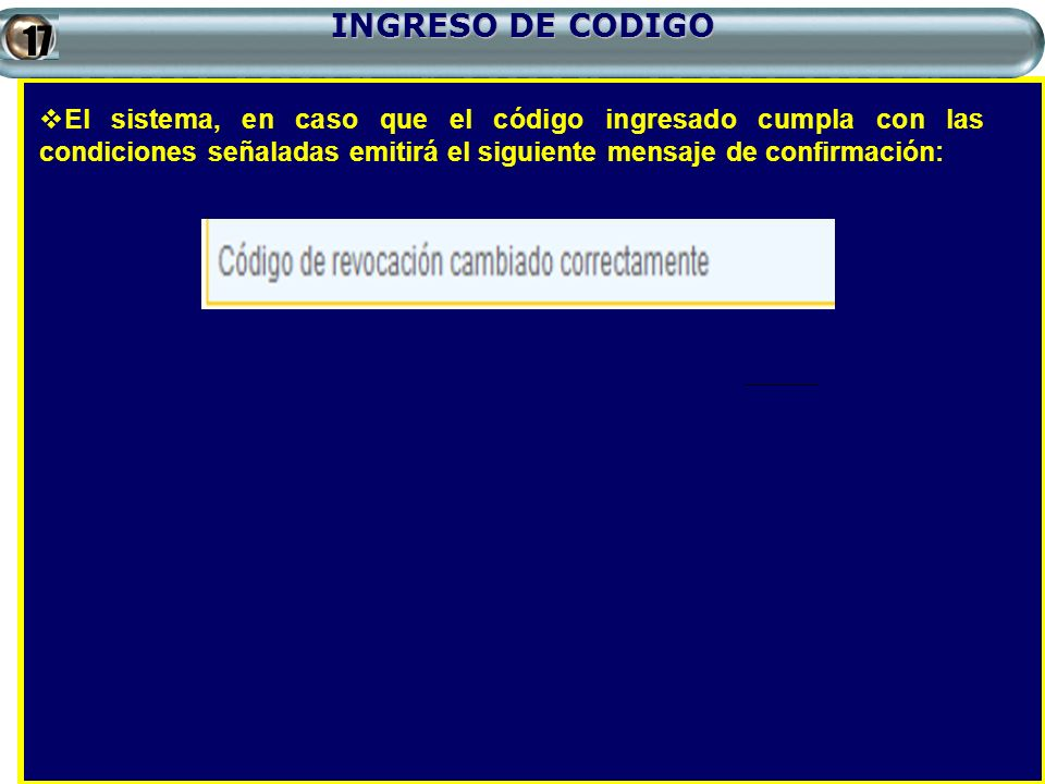 INGRESO DE CODIGO 17.