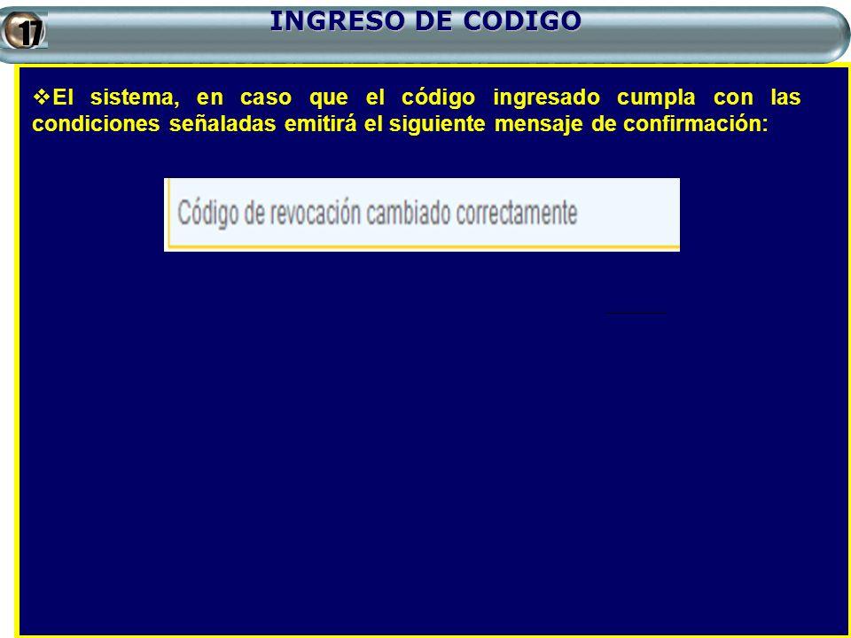 INGRESO DE CODIGO17.