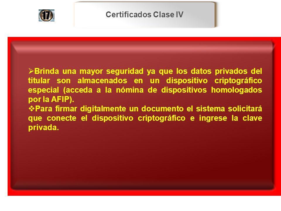 Certificados Clase IV17.