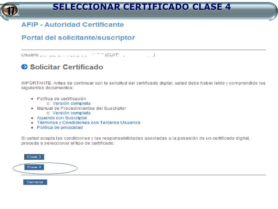 SELECCIONAR CERTIFICADO CLASE 4