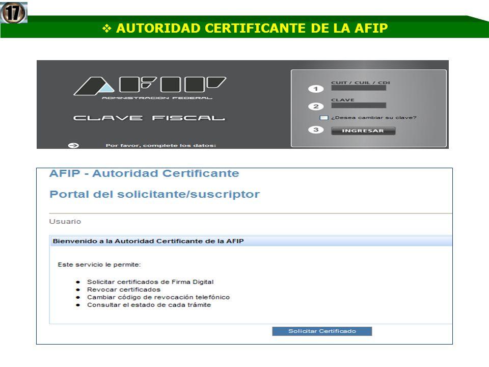AUTORIDAD CERTIFICANTE DE LA AFIP