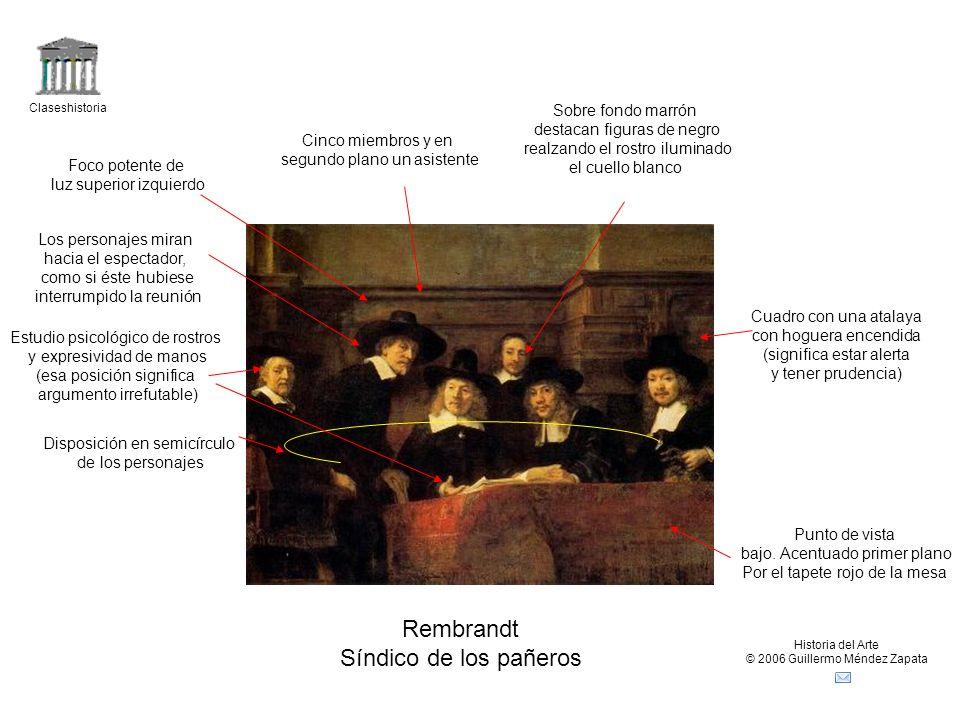 Rembrandt Síndico de los pañeros Sobre fondo marrón
