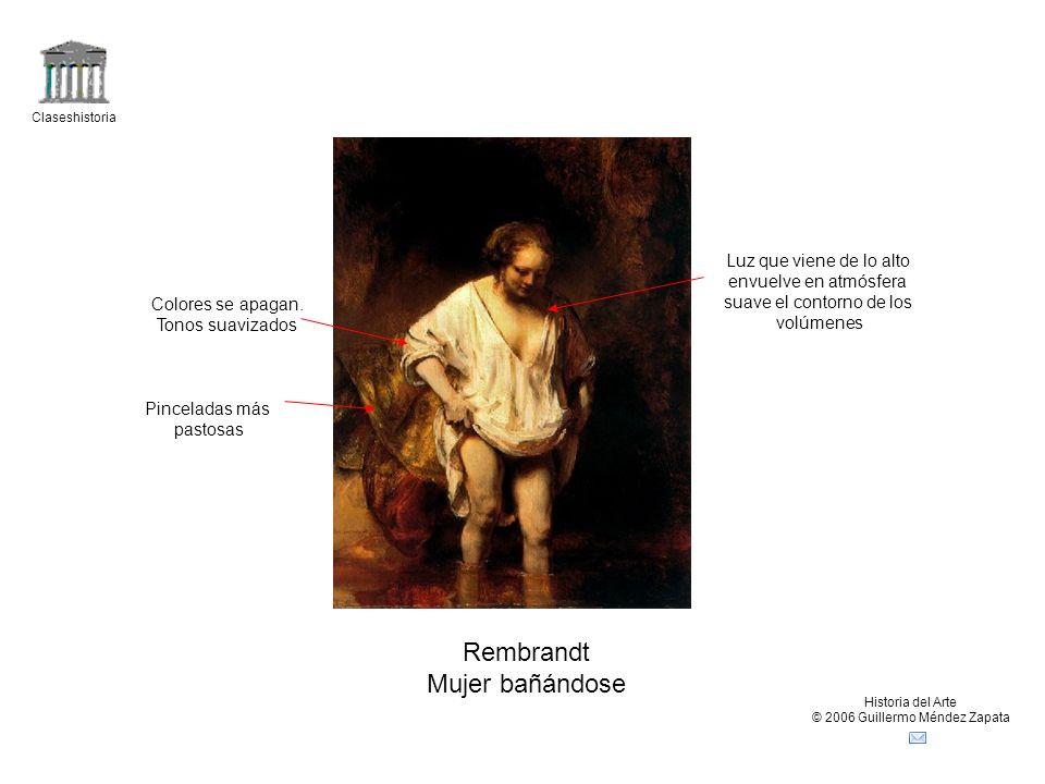Rembrandt Mujer bañándose Luz que viene de lo alto