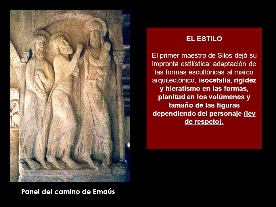 EL ESTILO El primer maestro de Silos dejó su impronta estilística: adaptación de las formas escultóricas al marco arquitectónico, isocefalia, rigidez y hieratismo en las formas, planitud en los volúmenes y tamaño de las figuras dependiendo del personaje (ley de respeto).