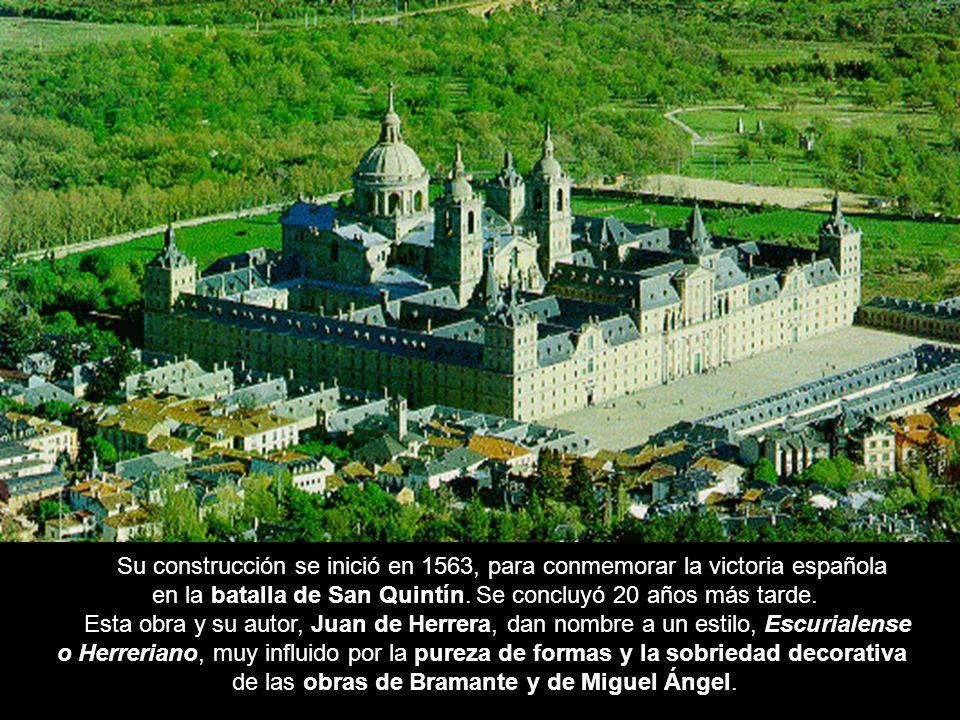 Vista generalSu construcción se inició en 1563, para conmemorar la victoria española. en la batalla de San Quintín. Se concluyó 20 años más tarde.