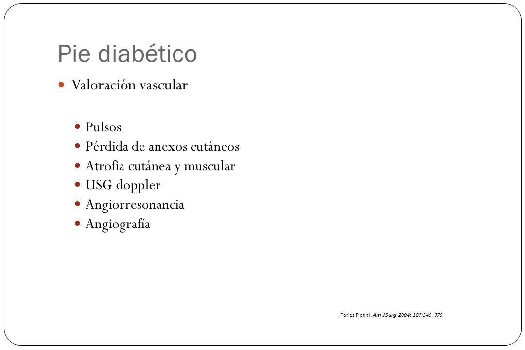 Pie diabético Valoración vascular Pulsos Pérdida de anexos cutáneos
